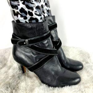 Cole Hann Black Ankle Heel Boots w Wrap Accent
